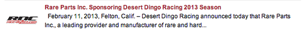 Rare Parts sponsors Desert Dingo Racing in Race Dezert