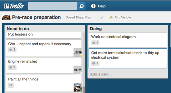 Trello for Desert Dingo